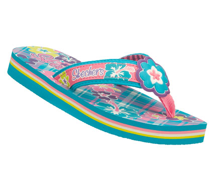 Surf Fun and fashionable style is in full flower with the SKECHERS Cali Seasides - Babies Blossom sandal.  Smooth synthetic upper in a flip flop thong sandal design with floral print design and flower applique. - $18.00