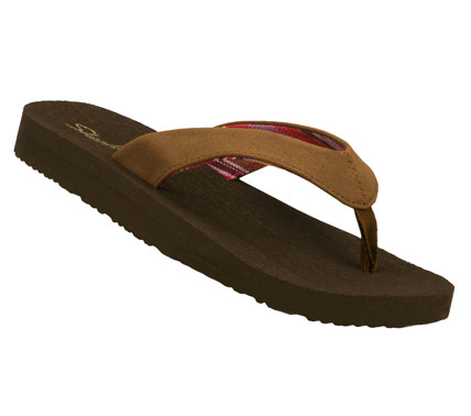 Fitness Feel free to brag about the style and comfort of the SKECHERS Cali Crow sandal.  Soft smooth faux leather upper in a flip flop casual thong sandal with soft yoga mat style footbed. - $20.00