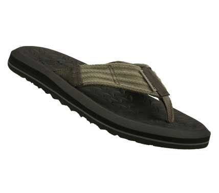 Surf Beach up your style with the SKECHERS Tantric - Ervin sandal.  Soft woven canvas fabric and smooth faux leather upper in a flip flop casual thong sandal with stitching accents and textured footbed. - $42.00