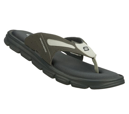 Surf Easygoing style and unmatched comfort comes in the SKECHERS Relaxed Fit: Uprush sandal.  Smooth faux leather upper in a sporty casual flip flop thong sandal with stitching and overlay accents.  Memory Foam footbed. - $33.00