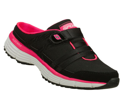 Easygoing comfort and fun sporty style combine in the SKECHERS Agility - Kick Back shoe.  Smooth leather and mesh fabric upper in a slip on low backed sporty casual sneaker clog with stitching and overlay accents.  Memory Foam insole. - $58.00