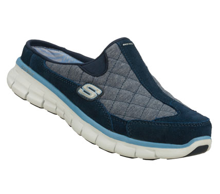 Ease right into comfort and sporty style with the SKECHERS Synergy - Elite Spot shoe.  Soft suede and soft fabric upper in a low backed slip on sporty casual sneaker clog with stitching and overlay accents. - $55.00