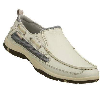 Entertainment Sail along into easy comfortable style with the SKECHERS Newman - Westen shoe.  Smooth full grain leather upper in a slip on casual boat loafer with stitching and overlay accents. - $68.00