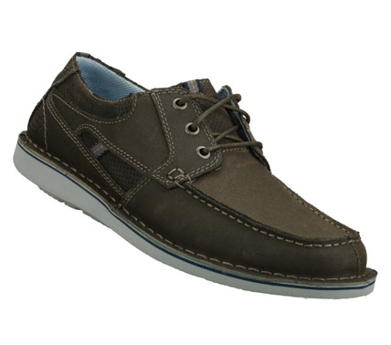 Entertainment Chart a course for classic easygoing style with the SKECHERS Caven - Dixon shoe.  Smooth leather upper in a three eye lace up casual boat shoe with stitching; overlay and perforation accents. - $62.00