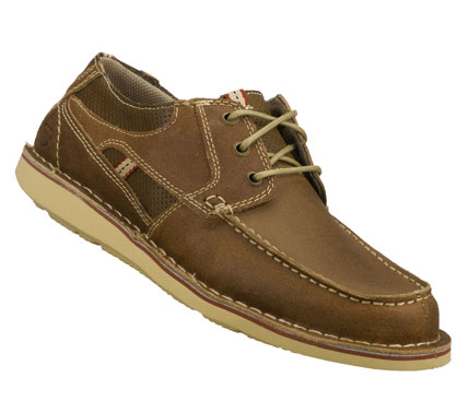 Chart a course for classic easygoing style with the SKECHERS Caven - Dixon shoe.  Smooth leather upper in a three eye lace up casual boat shoe with stitching; overlay and perforation accents. - $62.00