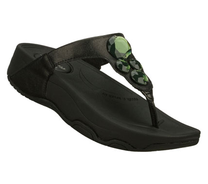 Surf Pretty style combines with lavish comfort in the SKECHERS Tone-ups - Count Down sandal.  Smooth faux leather upper in a flip flop casual thong sandal with stitching accents and gem detail. - $45.00