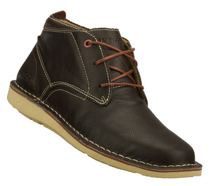 Entertainment Refine your look comfortably with the SKECHERS Caven - Chukka boot.  Smooth full grain leather upper in a lace up mid high dress casual chukka boot with stitching and overlay accents. - $69.00