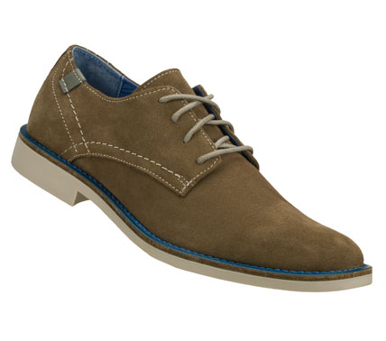 Entertainment Drink in the compliments wearing the Mark Nason SKECHERS Bartime shoe.  Soft suede upper in a lace up dress casual plain toe oxford with color accented topsole. - $85.00