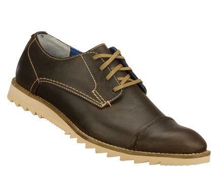 Entertainment Take cool classic style head-on with the Mark Nason SKECHERS Faceit shoe.  Smooth leather upper in a lace up dress casual cap toe oxford with stitching and overlay accents. - $69.00