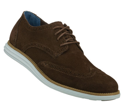 Entertainment A classic cool style combines with added comfort in the Mark Nason SKECHERS Embolden shoe.  Soft milled suede upper in a lace up dress casual wing tip oxford with stitching and overlay accents.  Contrast colored comfort sole. - $67.50