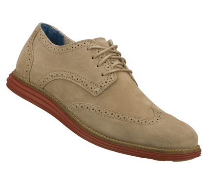 Entertainment A classic cool style combines with added comfort in the Mark Nason SKECHERS Embolden shoe.  Soft milled suede upper in a lace up dress casual wing tip oxford with stitching and overlay accents.  Contrast colored comfort sole. - $89.00