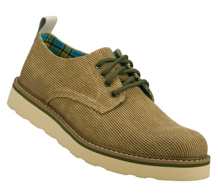 Entertainment Fresh cool retro style comes easily in the SKECHERS Ruger - Nova shoe.  Soft woven tweed fabric upper in a lace up dress casual oxford with stitching and overlay accents. - $68.00