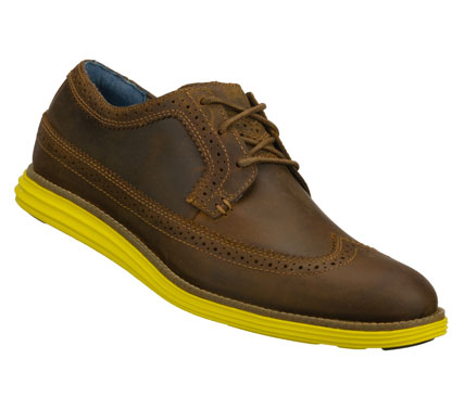Entertainment Classic style meets a pop of color in the Mark Nason SKECHERS Gavin shoe.  Smooth leather upper in a lace up dress casual wing tip oxford with stitching and overlay accents.  Lightweight colorful sole. - $94.00