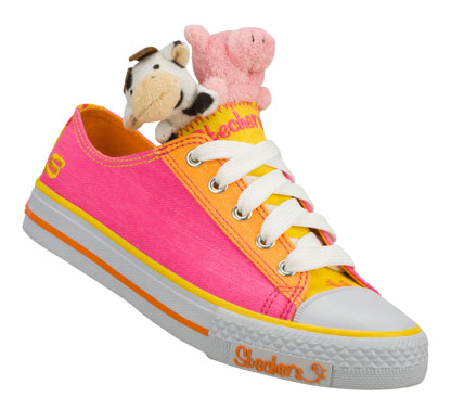 Let some fun friends come for a ride with the SKECHERS Shuffles - Cruisin Buddies shoe.  Soft woven canvas fabric upper in a lace up casual sneaker with color accents and plush animal detail. - $45.00