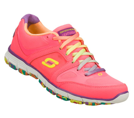 Look sharp in the sporty fun style of the SKECHERS Roxette shoe.  Smooth leather; synthetic and mesh fabric upper in a lace up sporty casual sneaker with stitching and overlay accents. - $55.00