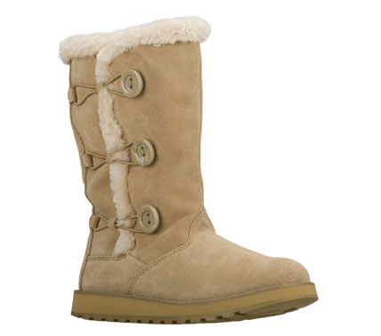Snuggle up in style and comfort with the SKECHERS Keepsakes - Canoodle boot.  Soft suede upper in a slip on casual mid calf height cool weather boot with stitching and overlay accents.  Faux fur trim. - $80.00