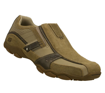 Instant easygoing cool comes in the SKECHERS Diameter - Garzo shoe.  Smooth leather upper in a casual slip on with stitching and overlay accents.  Contrast colored side stripe overlays. - $65.00