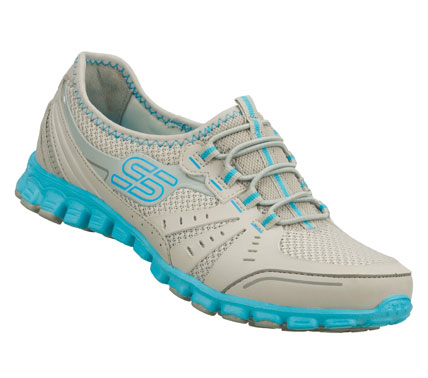 Sporty good looks and lightweight flexible comfort harmonize in the SKECHERS EZ Flex - Melody Maker shoe.  Smooth synthetic and mesh fabric upper in a bungee laced slip on sporty casual sneaker with stitching and overlay accents. - $60.00