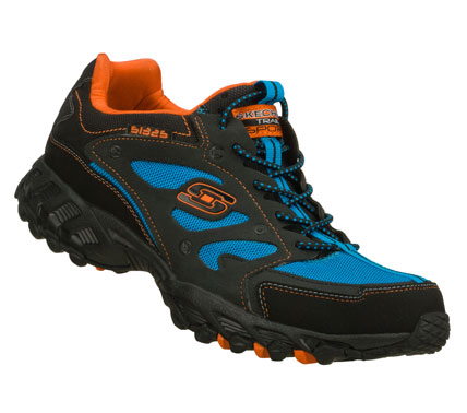 Fitness Get caught up in sleek sporty all terrain style with the SKECHERS Spider - Web shoe.  Smooth leather; synthetic and mesh fabric upper in a slip on bungee laced athletic trail running sneaker with stitching and overlay accents. - $63.00