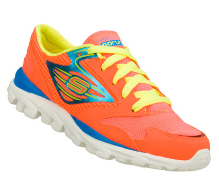Fitness She'll go like never before wearing the Skechers GOrun shoe.  Smooth leather; synthetic and mesh fabric upper in a lace up athletic lightweight running sneaker with stitching and overlay accent. - $40.00