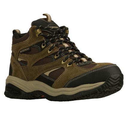 Rev up for comfort and surefooted style in the SKECHERS Work: Soft Stride - Hemi boot.  Suede and mesh fabric upper in a lace up waterproof slip resistant sole work boot with stitching and overlay accents. - $79.00