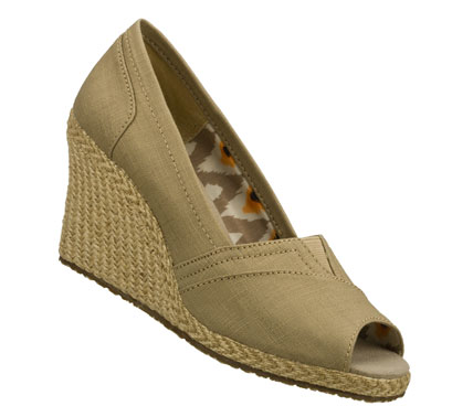 Entertainment Go everywhere in warm weather style with the SKECHERS Cali Club shoe.  Soft linen fabric upper in a slip on casual espadrille wedge with stitching and overlay accents. - $59.00