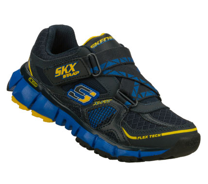 Smarten up his sporty look with the SKECHERS X 2.0 - Wit shoe.  Smooth leather; synthetic and mesh fabric upper in a cross strap front athletic sporty training sneaker with stitching and overlay accents. - $43.00