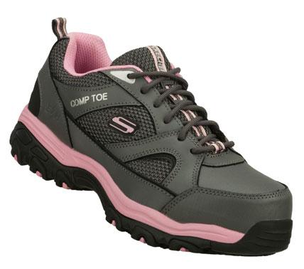 Stay safe and comfortable all day with the SKECHERS Work: D'Lites SR - Tottle shoe.  Durable veneer finish leather and mesh fabric upper in a composite toe slip resistant sporty casual work oxford with stitching and overlay accents. - $80.00