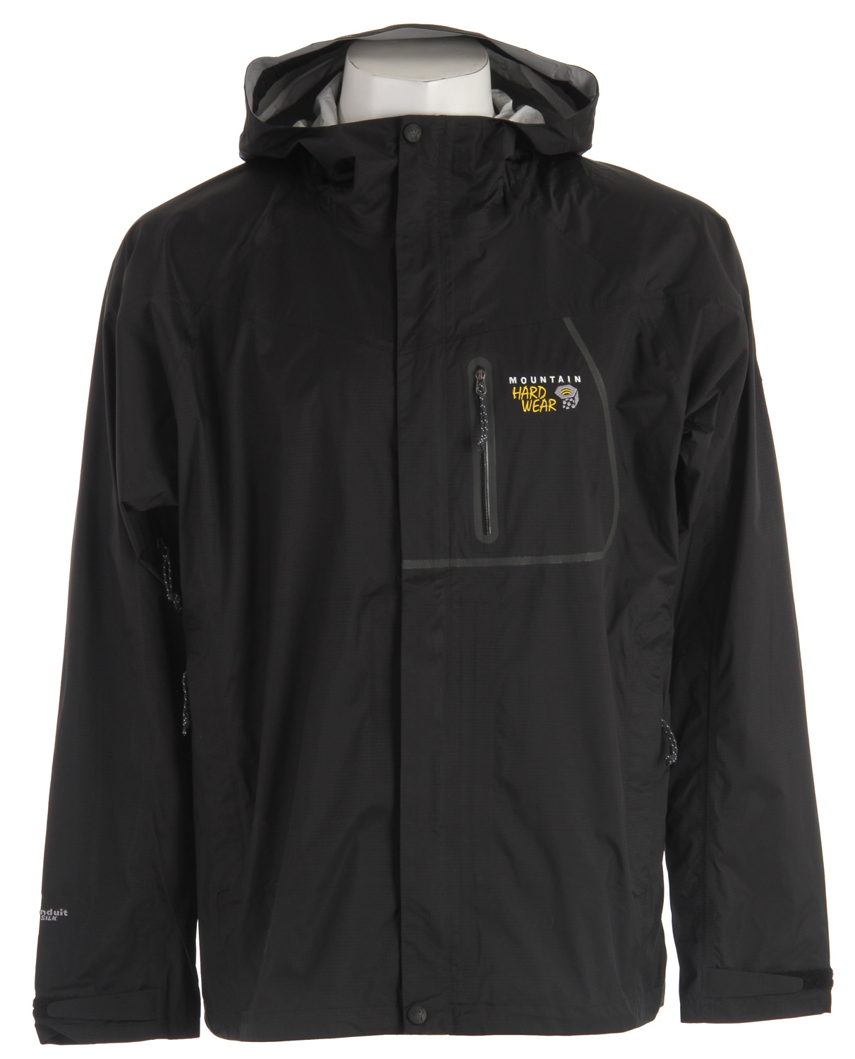 "Key Features of the Mountain Hardwear Epic Rain Jacket: Avg. weight: 12oz; 348g Center back length: 26.5"" Fabric: body: Ark Ripstop 2.5L (100% nylon) DryQ Elite: 100% waterproof, most breathable, air-permeable, no-wait comfort Attached hood with extra-beefy brim for added protection against the elements Pit zips Micro-Chamois - lined chin guard eliminates zipper chafe Dual hem drawcords for quick fit adjustments Adjustable Velcro cuffs for quick fit adjustments - $64.95"