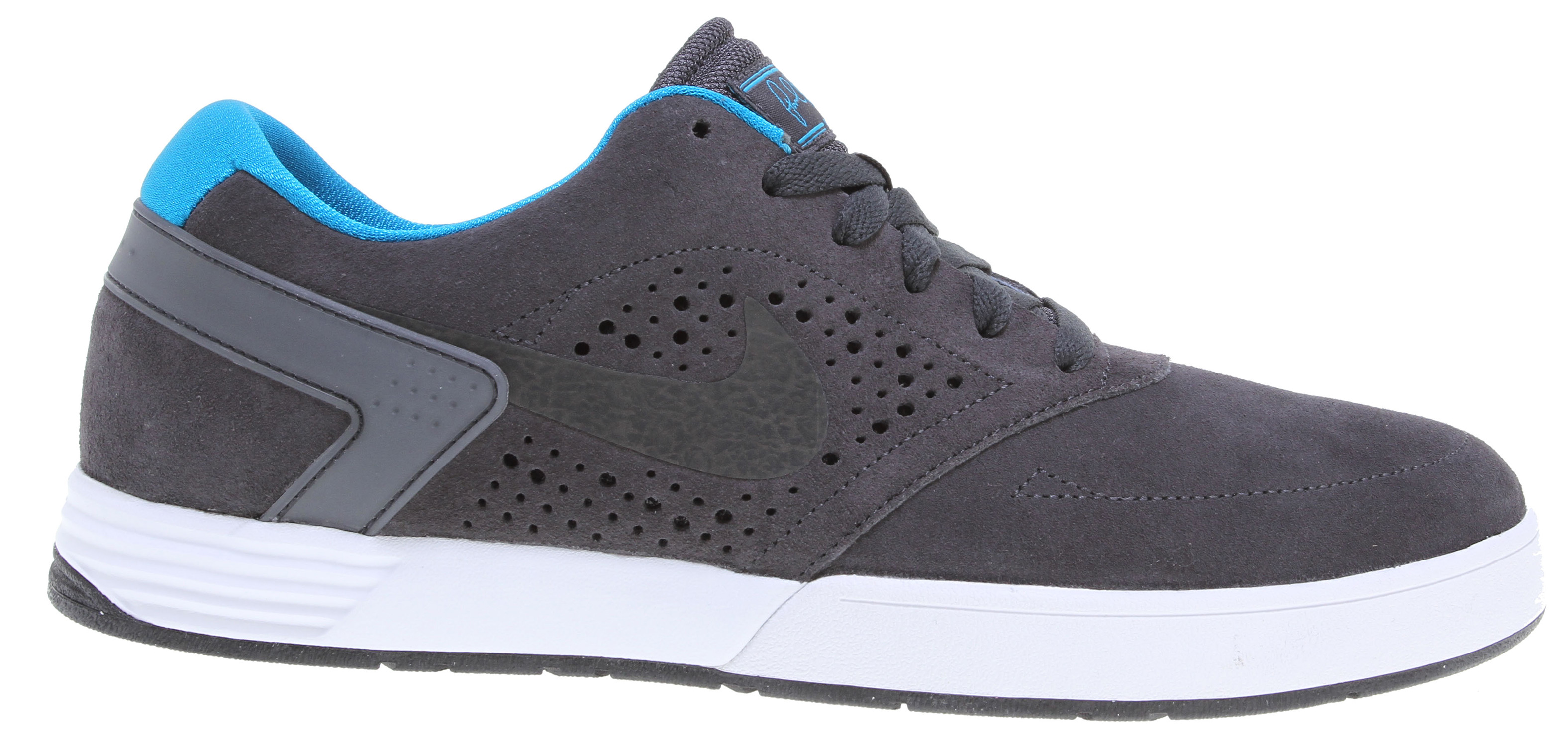 Skateboard Lightweight, breathable protection, merged with Nike innovation to create the perfect low-top skate silhouette. Key Features of the Nike Paul Rodriguez 6 Skate Shoes: Suede/leather with increased layers. Designed for breathable protection. Lunarlon foam, encased in a Phylon midsole, provide the ultimate lightweight cushioning. Decreased usage of rubber, combined with a razor herringbone tread pattern, provide flexibility and traction. - $90.00