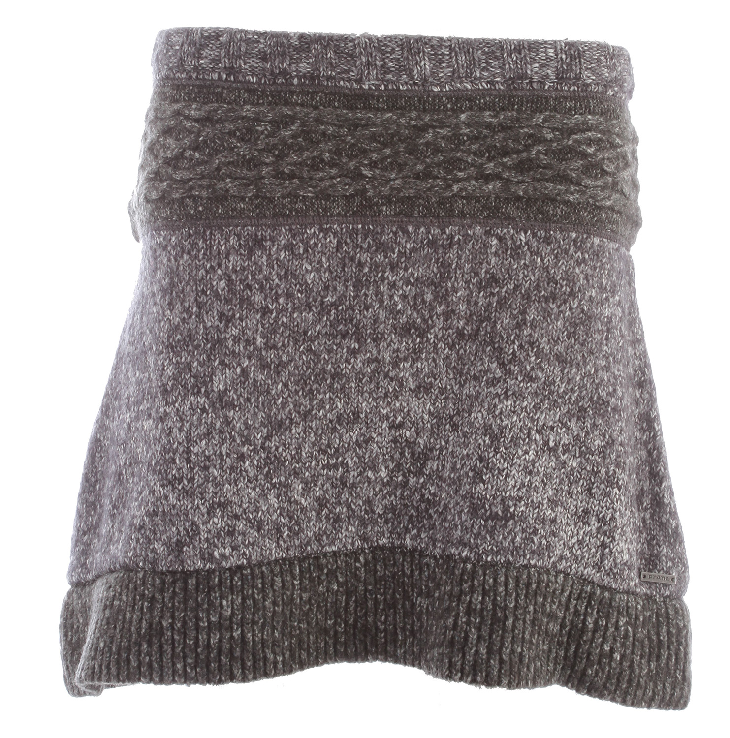 "Key Features of the Prana Rena Skirt: 55 cotton/34 acrylic/10 polyester/1 spandex Multiyarn sweater skirt Rib waistband and ruffle hem Tonal intarsia pattern at waist in contrast textured yarn 17.75"" outseam - $48.95"