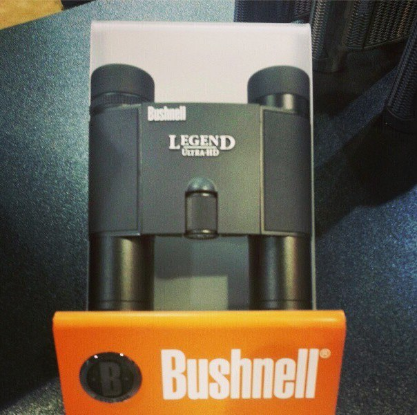 Bushnell's Legend Ultra HD 10x25 bino. This small compact bino has great quality & is perfect for any hunter who wants to travle light.