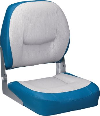 "Motorsports A rugged plastic frame and 28-oz. marine grade vinyl makes these seats highly durable and impervious to the elements. Mildew resistant PVC exterior. Dense foam cushioning pads even the roughest ride and resists compression. Dimensions: 19-1/2""H x 17""W x 15""D. Colors: Blue/Gray, Charcoal/Gray, Red/White, Green/Tan, Gray, Tan - $39.88"
