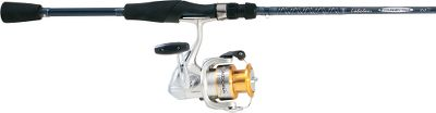 Fishing When combined, the refined power of the Sedona spinning reel and tournament-proven performance of Cabelas Tourney Trail IM7 graphite rod offers unbeatable fishability at a great price. The Sedona 2500FD is a feature packed, fish-fighting powerhouse. Four shielded stainless steel ball bearings offer an ultrasmooth retrieve. Dyna-Balance rotors eliminate wobble on retrieves. Power Roller III line roller reduces line twist. S-Arm Cam prevents slack that causes cuts and tangles. Propulsion spool lip improves casting distance. Power Fluidrive II polished oversized drive gear increases gear efficiency. Floating shaft reduces friction between the pinion gear and spool shaft increasing smoothness. Cold-forged aluminum spool, graphite frame, sideplate and rotor withstand rugged use in marine environments. Rubber handle provides a secure grip. Easily adjustable drag. Our Tourney Trail rod series is one of Cabelas best sellers. These tournament-proven rods give customers a more sensitive-feeling rod for their money. Small, yet strong aluminum-oxide guides are perfectly sized and wrapped to the Im7 graphite blanks in a seamless bond. Limited two-year warranty. Shimano Sedona Spinning Reel Reel Model Capacity (yds./lb.) Gear Ratio Bearings Weight (oz.) Maximum Drag (lds.) SE500FD 100/4 4.7:1 4+1 5.9 4 SE1000FD 110/6 6.2:1 4+1 7.7 7 SE2500FD 140/8 6.2:1 4+1 9.5 15 SE4000FD 200/10 5.7:1 4+1 12.5 20 - $69.88