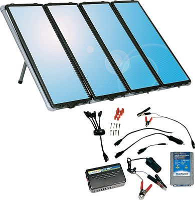 Motorsports This all-inclusive solar charging kit supplies economical power anywhere the sun shines. The solar panels utilize amorphous solar cells capable of producing power in cloudy, low-light conditions and in temperatures down to -40F. If you need more power, simply hook up additional panels (up to 10). It makes a great addition to an RV or a home as an extra source of power. Can be used to charge a 12-volt battery (sold separately). Built-in blocking diode protects against battery discharge at night.Kit includes: PVC mounting frame, 7-amp charge controller, 175-watt inverter and all wiring and connecting cable. Maximum power output of 80 watts or 4 amps in ideal conditions. Manufacturers five-year warranty.36 x 12.Total wt: 55 lbs. - $199.99