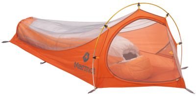 Camp and Hike An ultralightweight shelter, the Marmot Mesh Bivy is for the die-hard adventurer. The 20-denier No-See-Um mesh canopy and waterproof, 40-denier nylon ripstop floor assembles in seconds with the DAC Featherlite NSL pole. Inside pockets stash essentials. Silent, nylon zipper pulls. Imported.Capacity: 1 person. - $129.00