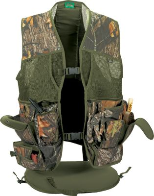 "Hunting Primos' Gobbler Vest has the functional features you need to stay comfortable and organized for your turkey-hunting adventure. Closed-cell foam cushion with clip-buckle quick-detach for a comfortable, waterproof seat anywhere you need one. A convenient strap helps you position the cushion while sitting down. A padded backrest adds to the vest's comfort. Closed-cell foam padding on each shoulder reduces recoil. Quick-grab pockets make finding your gloves, mask or other items easy. Silencer Box Call Holster on right side separates the lid and box for quiet carry. Right side also has an extra-large zippered pocket with two 6"" expandable mesh pockets inside. Left side has an extra-large zippered pocket with a 12""-deep sleeve perfect for any regular or oversized box call. Imported. Sizes: S/M, L/XL, 2XL/3XL.Camo patterns: Mossy Oak New Break-Up , Realtree APG HD . - $74.99"