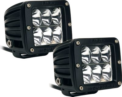 Motorsports Ground-breaking Rigid Industries off-road LED lighting will change the way you see the trail. The included mounting hardware works with ATVs, UTVs, trucks, motorcycles, boats, you name it perfect for any off-road excursion. Ultraefficient LEDs produce 2,600 lumens of light out to 325 yards. Rugged aluminum housings and unbreakable polycarbonate lenses. Made in USA. Kit includes: brackets, plug-and-play wiring harness, switch and mounting hardware. 2.9H x 3.1W x 3.1D. - $360.99