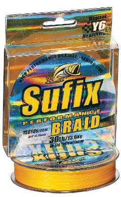 Fishing Sufix Performance Braid has rewritten the book on braided line. From castability to abrasion resistance and knot strength, this incredible new line excels in every category thats important to you. In fact, its soft, supple feel makes it completely compatible with spinning reels - something that very few braids can claim. The exclusive Y6 Digital Braiding process produces a tighter braid pattern that wont unwind under the severest conditions. A specially formulated finish protects it from abrasion caused by contact with logs, rocks and debris, so youll be fishing this line long after your buddies have respooled their reels. Other braids claim to be able to pull a fish out of thick cover, Performance Braid has the strength to haul in the brush pile as well. Because it has virtually no stretch, all it takes is a short upswing of the rod and even the lightest-biting fish is hooked. Spool size: 150 yards. - $9.88