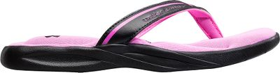 Surf Incredible cushioning and softness for comfort that lasts. Performance synthetic straps with foam lining. Footbeds with two layers of Under Armour Performance 4D Foam contour to the shape of your feet. Sculpted EVA outsoles for enhanced support. Imported. Kids whole sizes: 1-4 medium width. Color: Black/Pink. Size: 2. Color: Black/Pink. Gender: Female. Age Group: Kids. - $19.88
