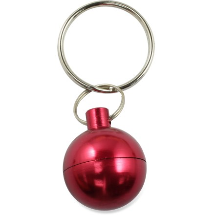 The Bison Designs Sphere Capsule keychain features a small compartment that can be opened to store small items. Split ring holds keys. Anodized finish for bright, long-lasting color. - $2.93