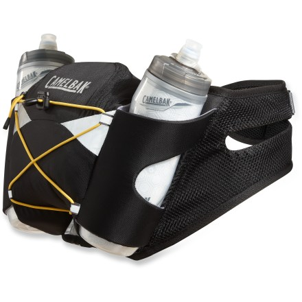 Camp and Hike The CamelBak Venture waistpack lets you comfortably carry water, energy gels and small essentials to keep you hydrated and energized on long runs and day hikes. Air-mesh nylon fabric harness with perforated foam increases ventilation and enhances comfort next to skin. Zippered compartment stores small essentials such as an energy bar, gels, phone, MP3 player, wallet and keys. 2 BPA-free, 21 fl. oz. Podium Chill bottles are held securely in insulated holsters with a bungee cinch strap. Lightweight and squeezable body, double-wall insulation and an innovative self-sealing cap set a new standard for water bottles. The CamelBak Venture waistpack features an external bungee cord that lets you stow a light shell jacket, gloves or hat. - $41.93