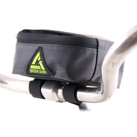 Fitness Made from recycled bike tubes, this Green Guru Dash Handlebar bag stashes necessities for your ride. A transparent pocket keeps your phone, GPS or map within view for on-the-go navigation. - $18.83