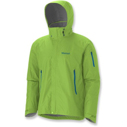 The Marmot Aegis jacket combines superior weather-beating performance with a wealth of creature comforts. MemBrain(R) Strata(TM) 2.5-layer waterproof, breathable fabric reduces internal condensation to effectively increase your comfort range without weighing you down. Slight stretch adds comfort, while 100% seam taping provides complete protection. Attached adjustable hood rolls into collar when not needed. Double stormflap surrounds 2-way front zipper; DriClime(R)-lined collar wicks moisture and is kind to skin. PitZips(TM) allow excellent ventilation control. Elastic drawcord waist and rip-and-stick cuff tabs help seal out the elements; cuffs also feature DriClime lining. Hand and sleeve pockets on the Marmot Aegis jacket feature water-resistant zippers. Angel-Wing Movement(TM) sleeves allow unrestricted arm motion so jacket won't ride up. - $114.93