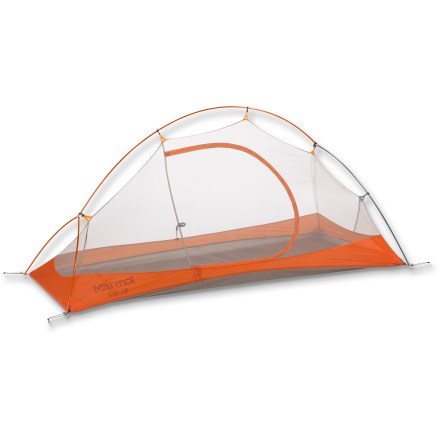 Camp and Hike For solo outings, whether through-hiking or just kicking it outdoors for a night, the Marmot Eos 1 tent provides a sturdy, lightweight shelter with ample space for you and your gear. - $184.93