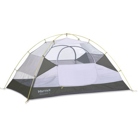 Camp and Hike Lightweight without being cramped, the Marmot Traillight 2P tent has ample headroom and 2 doors for easy access. - $149.93