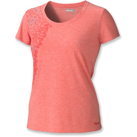 Camp and Hike You're the only one who has to know the Marmot Libby T-shirt is made for performance. Pretty heathered fabric and a feminine screen print with embroidery make it a delightful choice for hanging out. dri-release(R) polyester/cotton blend offers breathable comfort and permanent moisture-wicking, quick-drying performance. FreshGuard(R) fabric treatment absorbs moisture and quickly pushes it through the fabric into the air to minimize odor creation. Fabric provides UPF 30 sun protection, shielding skin from harmful ultraviolet rays. Marmot Libby T-shirt has a regular fit; tag-free neckline reduces irritation. - $29.93