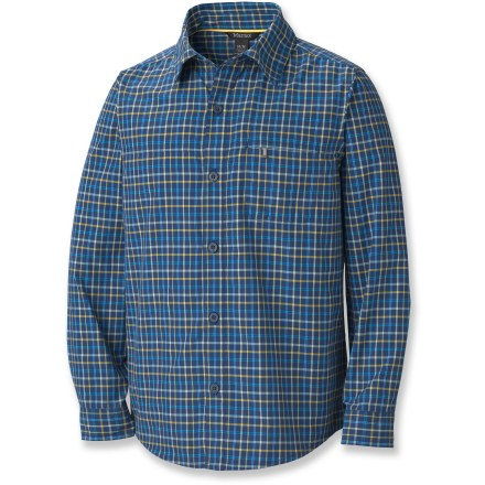 The Marmot Cordova Plaid Shirt for boys provides full coverage with long sleeves yet remains lightweight and breathable enough to wear in warmer temperatures. Durable nylon fabric dries quickly, resists abrasion and wicks moisture away from skin while staying breathable. Integrated UPF 45 protects against sun exposure. Underarm gusset allows full range of mobilty while the shirt stays in place. Marmot Cordova Plaid Shirt features a zippered chest pocket to keep valuables secure. - $21.83