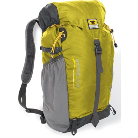Camp and Hike Combining minimalist simplicity with refined comfort, the Mountainsmith Scream 25 pack adds ultralight functionality to your light and fast day trips and summit scrambles. Diamond air-mesh shoulder straps feature an anti-sweat, Durable Water Repellent finish; lightweight webbing hipbelt helps stabilize the load. Top-loading main compartment is topped with a single-pocket top lid that fastens with a single vertical compression strap. Internal hydration sleeve and exit port accommodate a reservoir of your choice (reservoir sold separately). Side mesh pocket is sized to fit a 32 oz. water bottle (sold separately). Dual loops let you lash tools or trekking poles to the exterior of the pack; side compression straps take up extra volume and help stabilize the load. The Mountainsmith Scream 25 pack can be turned inside out and stuffed into its own front accessory pocket for storage or to make a great pillow. - $69.95