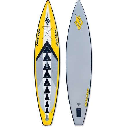 Kayak and Canoe Designed to keep up the pace during races and high-performance touring, the Naish One 12 ft. 6 in. inflatable stand up paddleboard also happens to be an ideal solution for the travelling paddler. Spanning the interior of the inflatable like an iron spider's web, thousands of drop-stitch fibers allow a very high, almost rock-hard, inflation pressure. High air pressure creates a rigid hull without the use of frame parts, and unlike hard boards, there's no need to worry about dings or chipped surfaces. 12 ft. 6 in. length and 30 in. width create a long, narrow shape, promoting forward glide and lasting comfort during long tours. Graphics on the board include numerical reference points indicating proper standing position, serving as helpful reminders and visual cues. 6 in. thickness increases stability and comfort for paddlers of all experience levels. Removable 12 in. center fin promotes straight tracking. The Naish One 12 ft. 6 in. stand up paddleboard includes its own pressure-gauge pump, storage bag and repair kit. Packed dimensions of 33 x 20 x 12 in. means your board packs down for hassle-free carrying by bike or checked on a plane. - $1,299.00